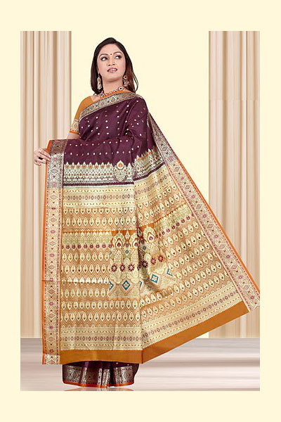 Brown Art Silk Saree with Golden Embroidered Aanchal for Party and Festival
