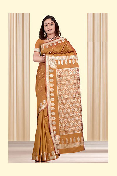 Art Silk Saree in Copper Brown Color for Party and Festival Wear