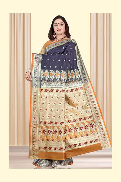 Stunning Art Silk Saree in Deep Blue Color for Festival Wear