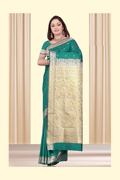 Latest Teal Blue Art Silk Saree Collection for Party And Festival