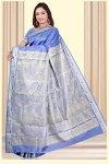 Wedding Art Silk Saree in Cornflower Blue Color
