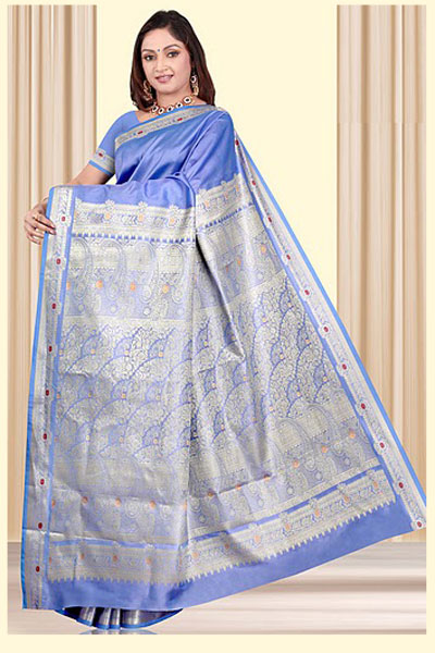 Wedding Art Silk Saree in Cornflower Blue Color