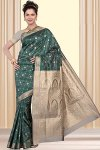 Wedding Art Silk Saree in Pine Green Color