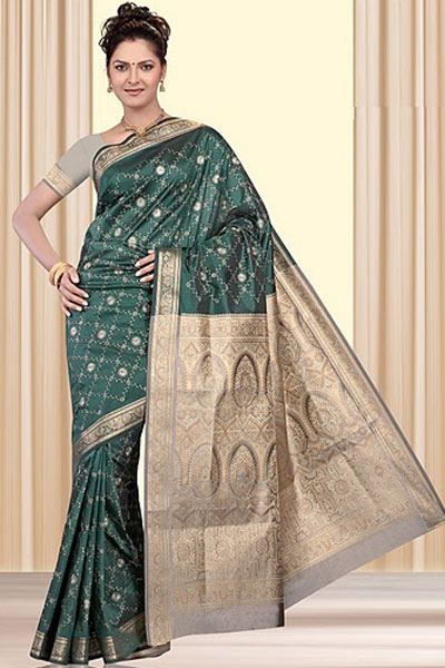 Wedding Art Silk Saree in Pine Green Color