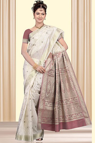 Newly Arrived Art Silk Saree in White Color for Party and Festival Wear