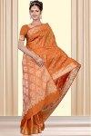 Latest Art Silk Saree in Orange Color for Wedding Wear