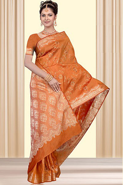 Latest Art Silk Saree in Orange Color for Wedding Wear