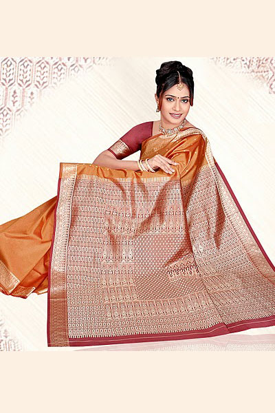 Art Silk Saree in Orange Color with Embroidery work on Aanchal