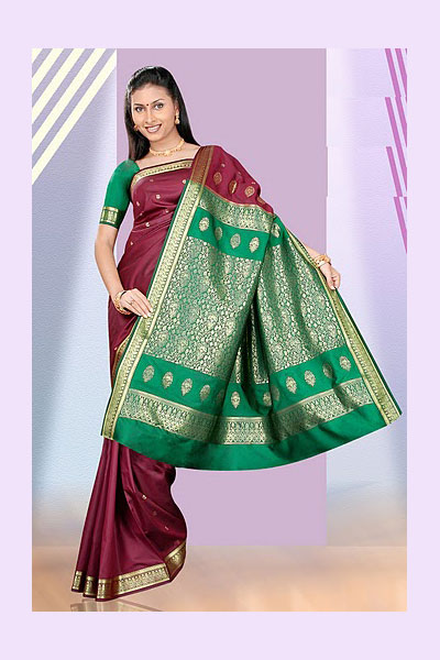 Red and Green Art Silk Saree for Festival and Wedding Wear