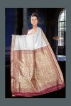 White Party Wear Art Silk Saree with Embroidery Work on Pallu
