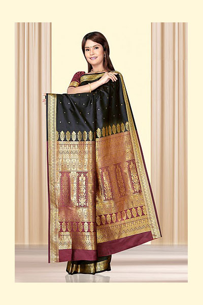 Black Art Silk Saree with Golden Color Embroidered Aanchal
