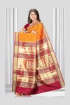 Orange Art Silk Saree with Golden Embroidery Work on Pallu