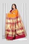 Orange Art Silk Saree with Golden Embroidery Work on Pallu