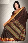 Art Silk Saree in Brown Color with Golden Embroidered Border Work