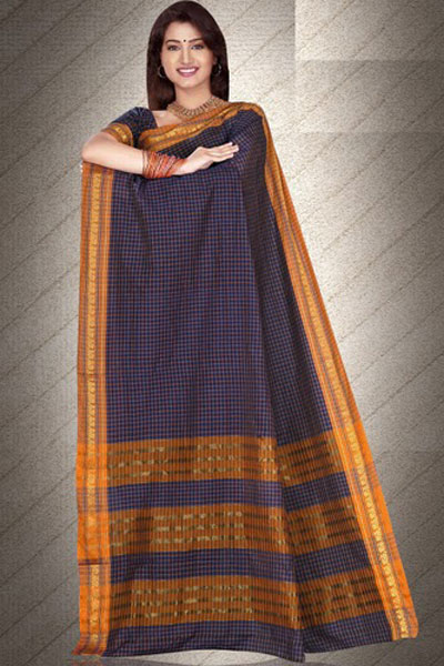 Navy Blue Art Silk Saree with Golden Embroidered Border Work for party