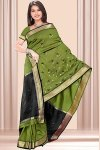 Olive Green and Black Art Silk Sarees Collection 2010