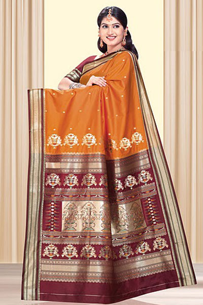 Art Silk Saree in carrot Orange Color with Embroidered Border Work