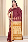 Red Art Silk Saree with Golden Embroidered Pallu, Ideal for Wedding