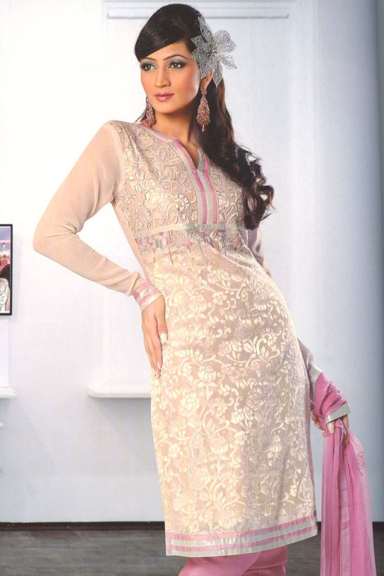 Pink Semi Stitched Full Sleeves Churidar Salwar Kameez 2010