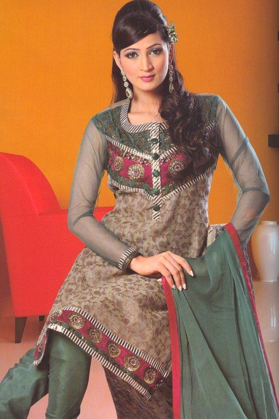 Party Wear Chudidar Salwar Kameez in Camouflage Green Color