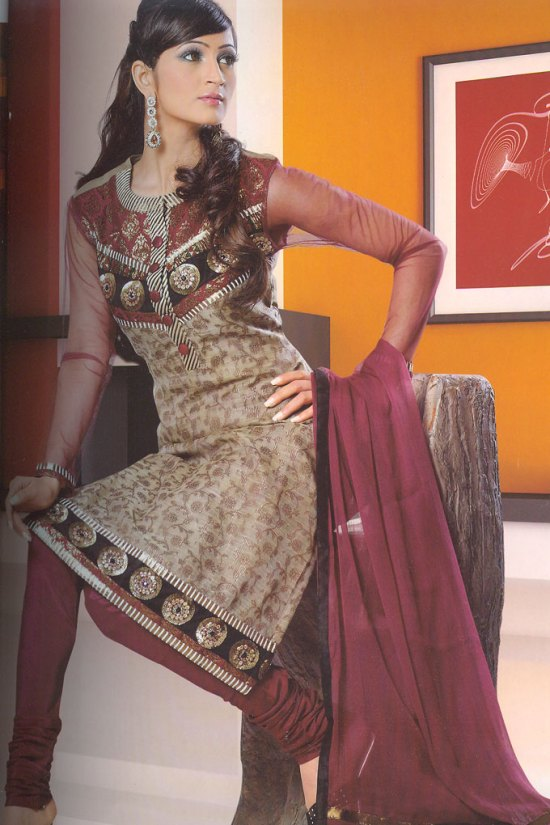 Embroidered Churidar Salwar Kameez in Cordovan Brown Color