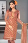 Full Sleeves Churidar Salwar Kameez in Crepe Silk Fabric
