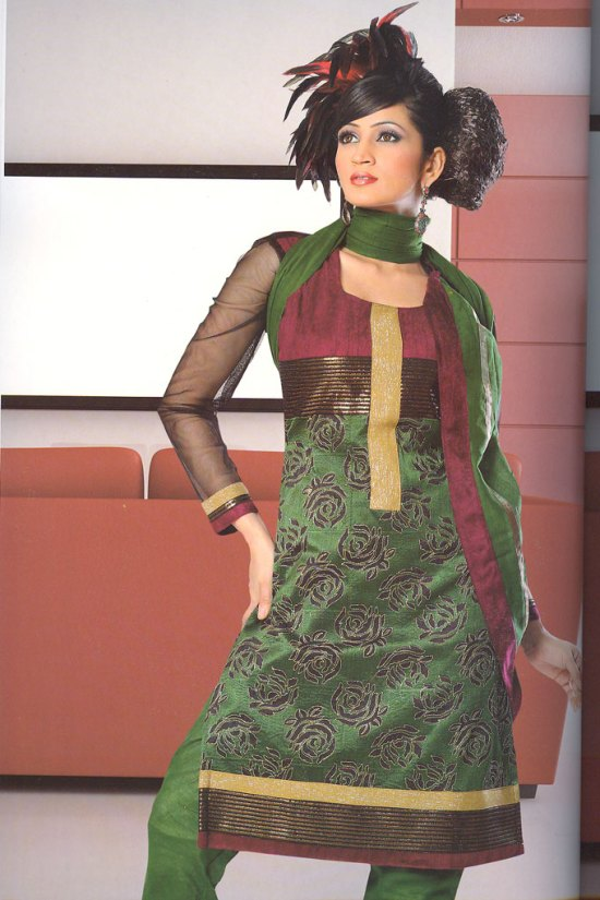 Green Churidar Salwar Kameez with Full Net Sleeves