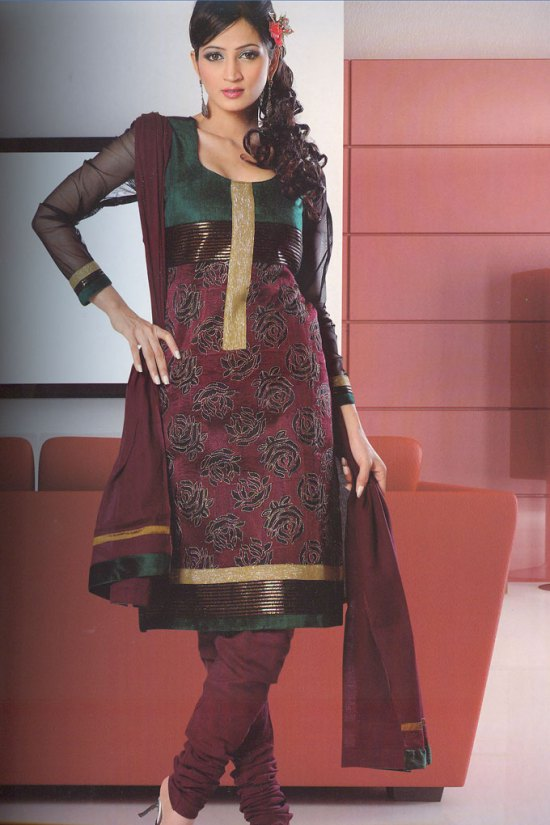 Anarkali Style Silk Party Wear Churidar Salwar Kameez 2010