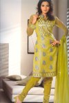 Full Net Sleeves Churidar Salwar Kameez in Golden Yellow Color