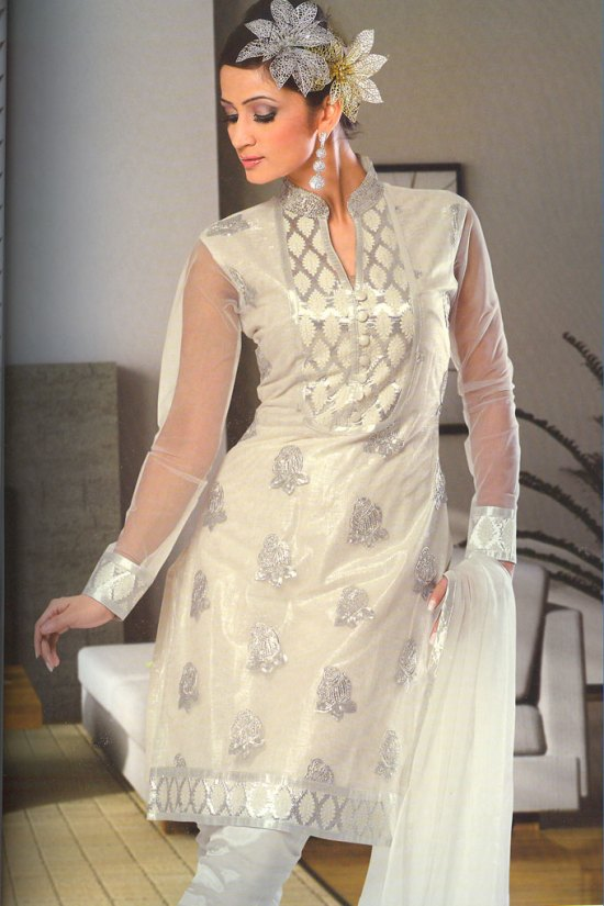 Stunning Embroidered Churidar Salwar Kameez with Net Sleeves