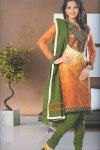 Green Churidar with Embroidered Tomato Orange Kameez