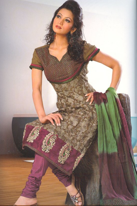 Embroidered Churidar Salwar Kameez in Camouflage Green and Purple Color