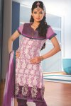 Benarasi Churidar Salwar Kameez in Pink and Purple Color