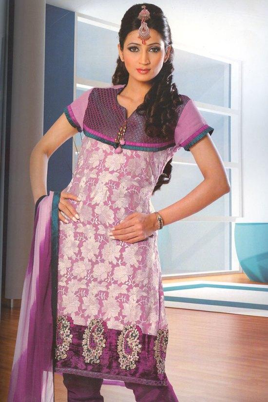 Benarasi Churidar Salwar Kameez in Pink and Purple Color
