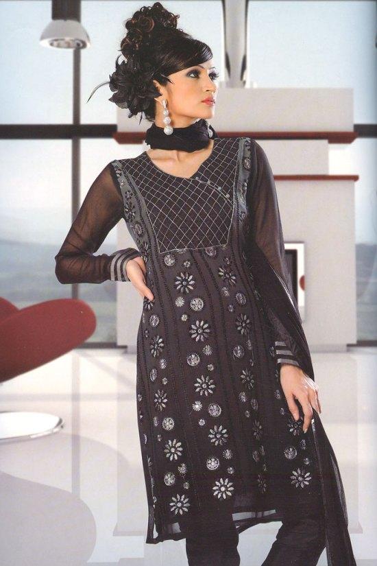 Black Full Sleeves Indian Churidar Salwar Kameez Collection