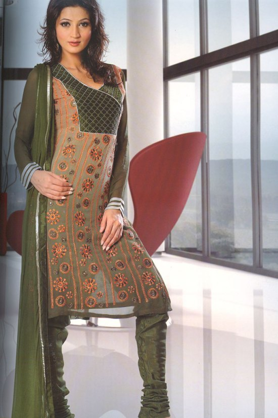 Long Sleeves Green Churidar Shalwar Kameez Collection 2010