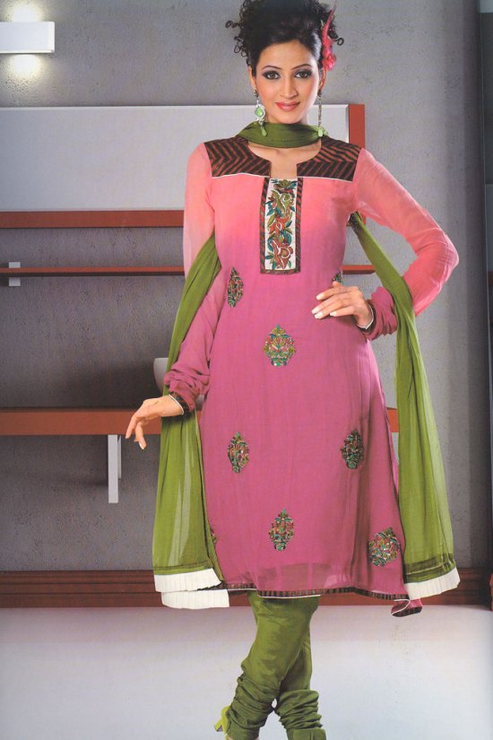 Deep Pink Kameez with Green Salwar Churidar For Party Wear