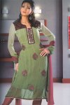 Green and Pink Full Sleeves Churidar Salwar Kameez Collection