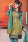 High Neck Churidar Salwar kameez in Olive Green and Blue Color