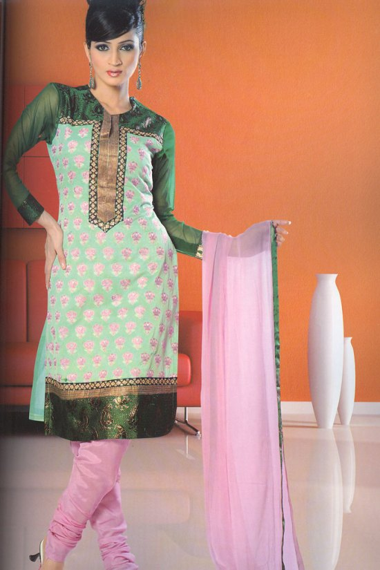 Pink Churidar with Green Kameez and Deep Green Sleeves for Party