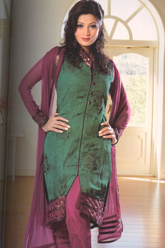 Full Sleeves Green and Violet Churidar Salwar Kameez 2010