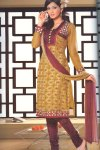 Yellow Kameez with Deep Maroon Salwar Churidar For Party and Festival