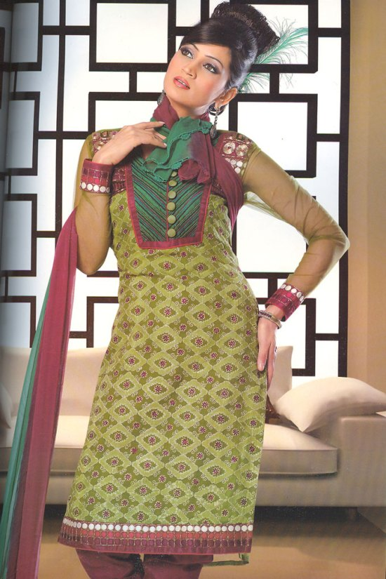 Green and Brown High Neck Churidar Shalwar kameez Collection