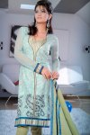 Blue and Light Green Net Churidar Salwar Kameez 2010