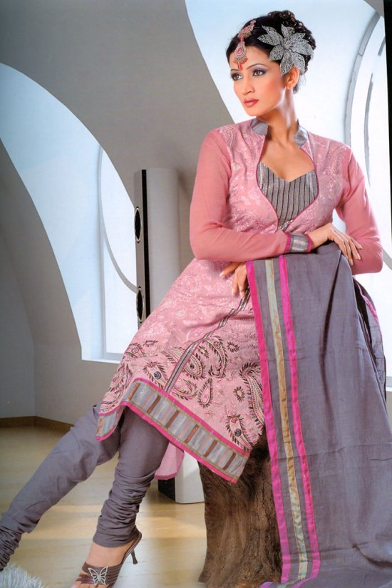 Pink and Gray Full Net Sleeves Churidar Salwar Kameez 2010