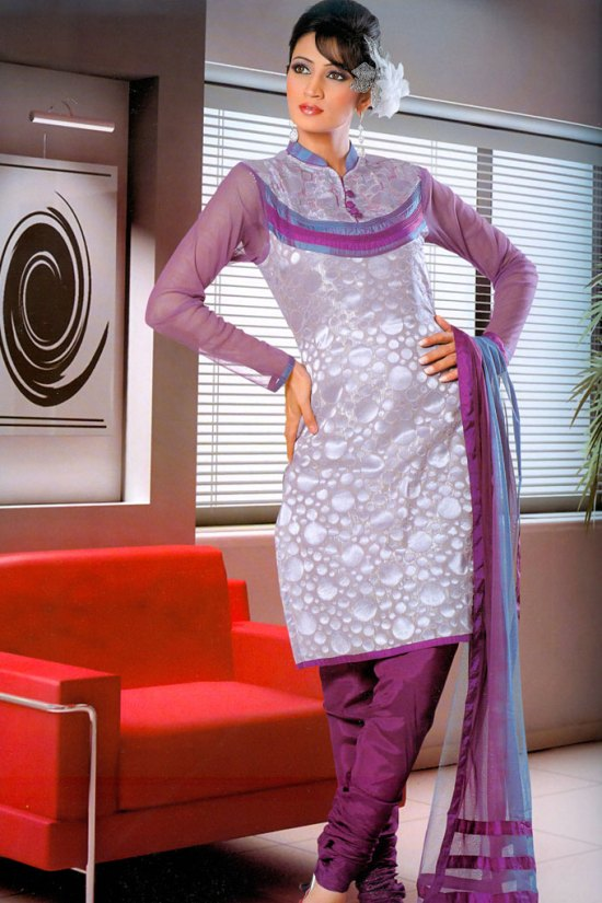 Stunning High Embroidered Neck Full Sleeves Purple and White Churidar Kameez