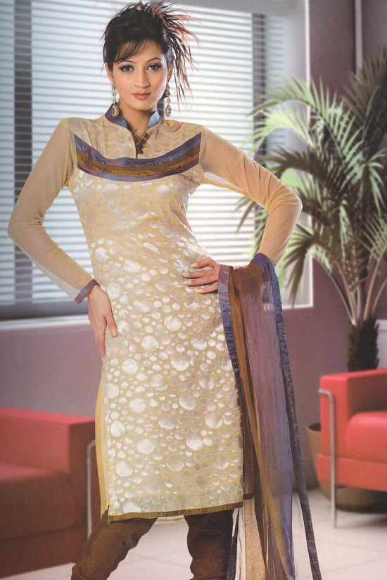 Beige and Brown High Neck Churidar Salwar kameez Collection