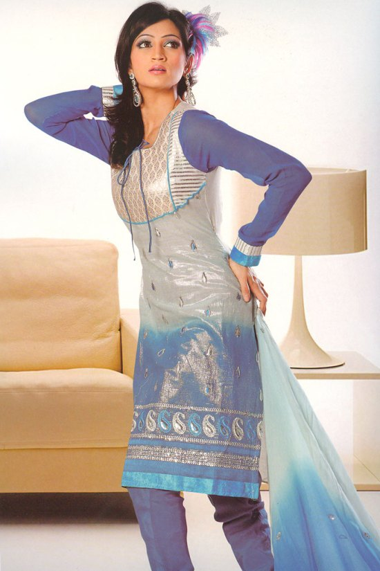 Blue Net Sleeves Embroidered Churidar Salwar Kameez Collection
