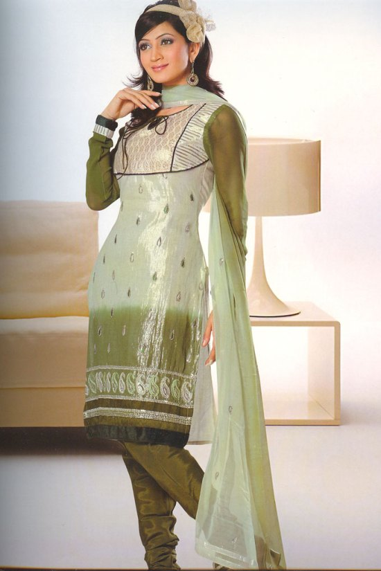 Green Net Churidar Salwar kameez For Festival and Party Wear