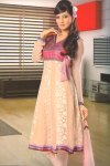 Anarkali Style Full Sleeves Peach and Purple Churidar Salwar Kameez